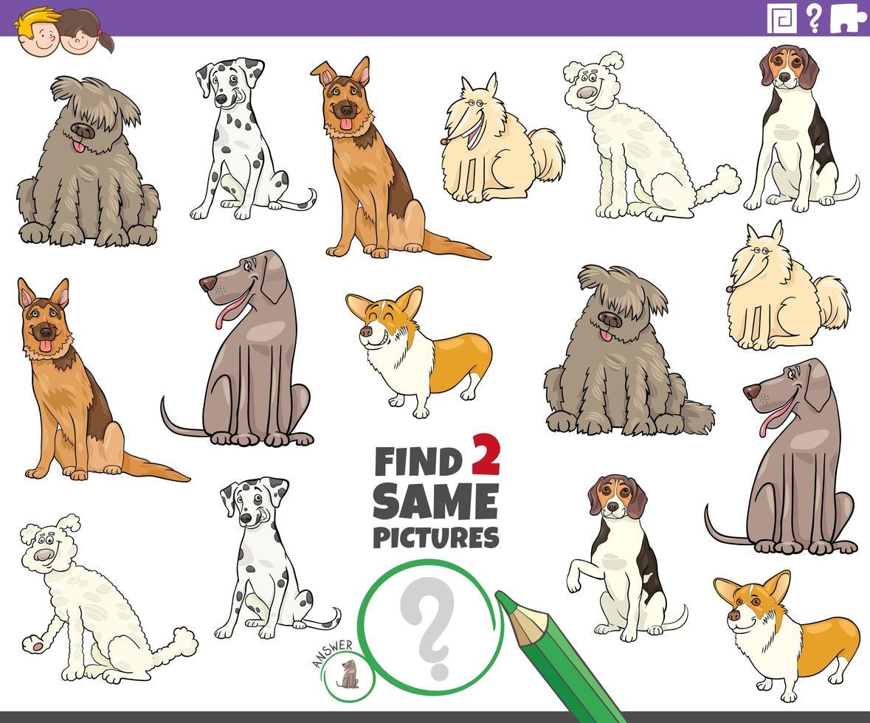 Finde zwei gleiche reinrassige Hundespiele für Kinder vektor