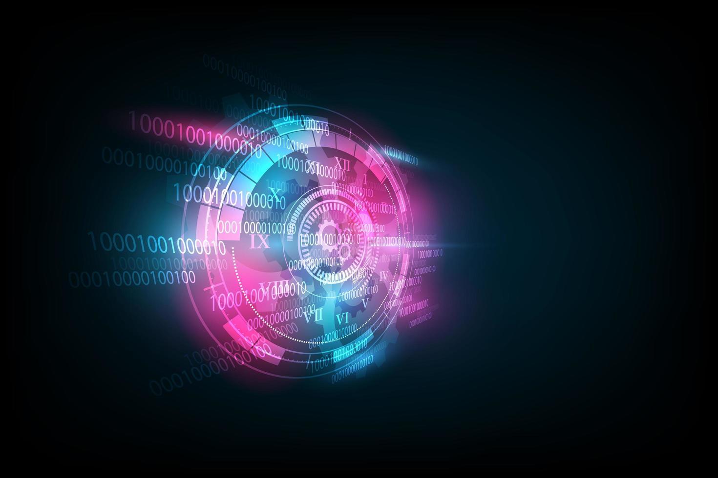 abstrakter futuristischer Technologiehintergrund mit Uhr vektor