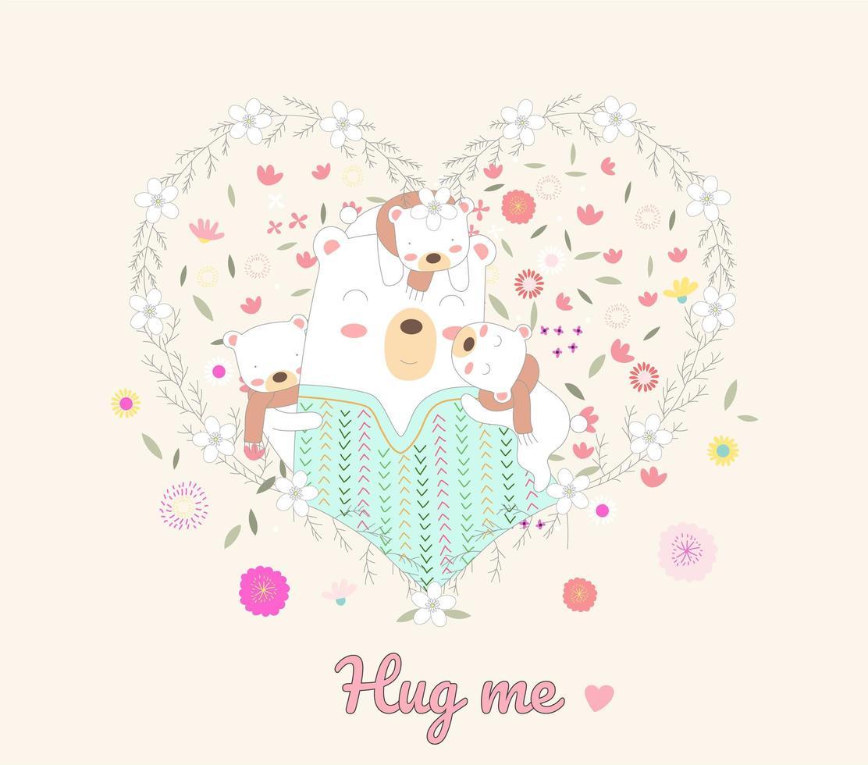 süße Bären, die im Blumenherzrahmen umarmen vektor
