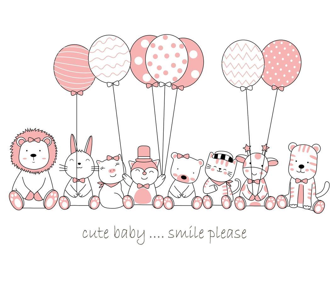 handritade söta baby djur med ballonger vektor