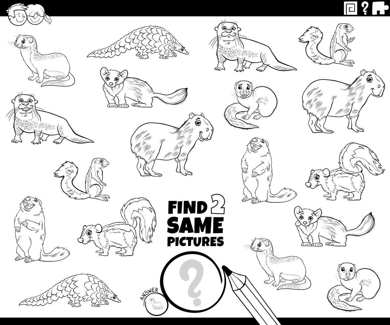 hitta två samma djurkaraktärer färg bok sida vektor