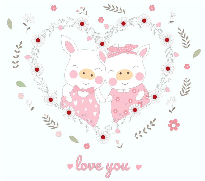 söta piggy djur i blommigt hjärta vektor