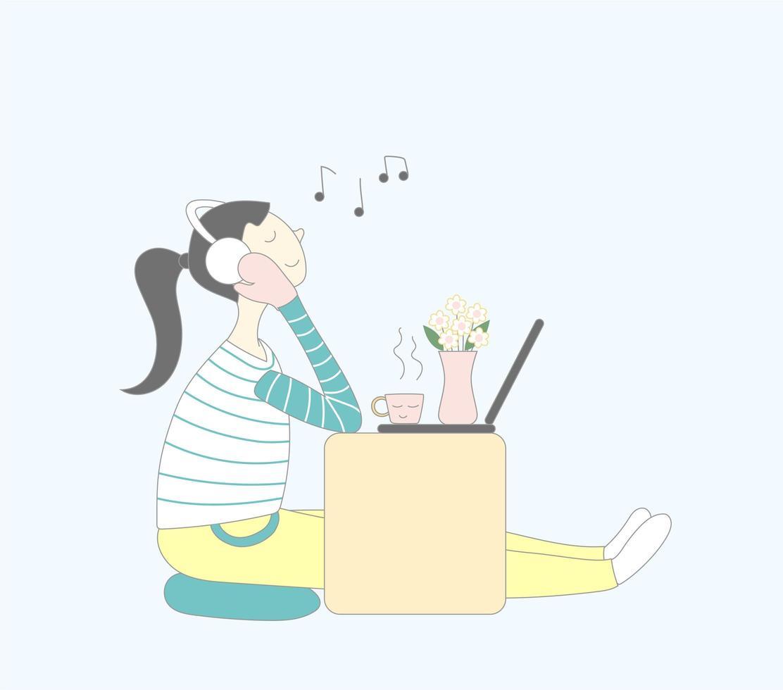 glückliches Mädchen hört Musik auf Kaffeezeit vektor