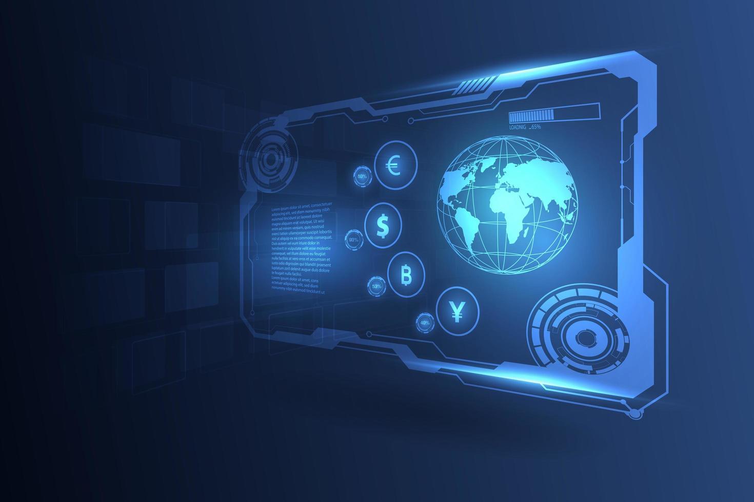 högteknologisk global penningöverföringsbakgrund vektor