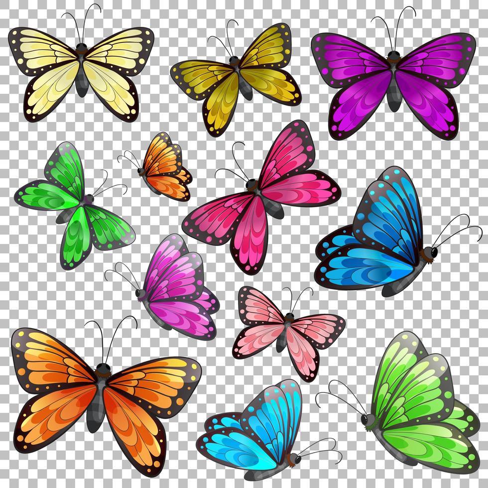 Satz verschiedene Schmetterlinge auf transparentem Hintergrund vektor