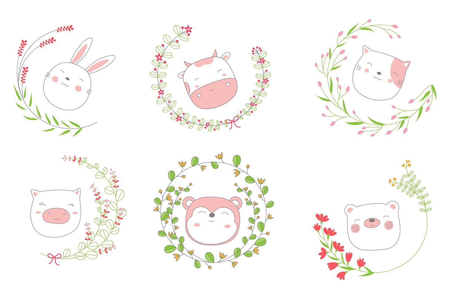 tecknad skiss baby djur ansikten i blommiga ramar vektor