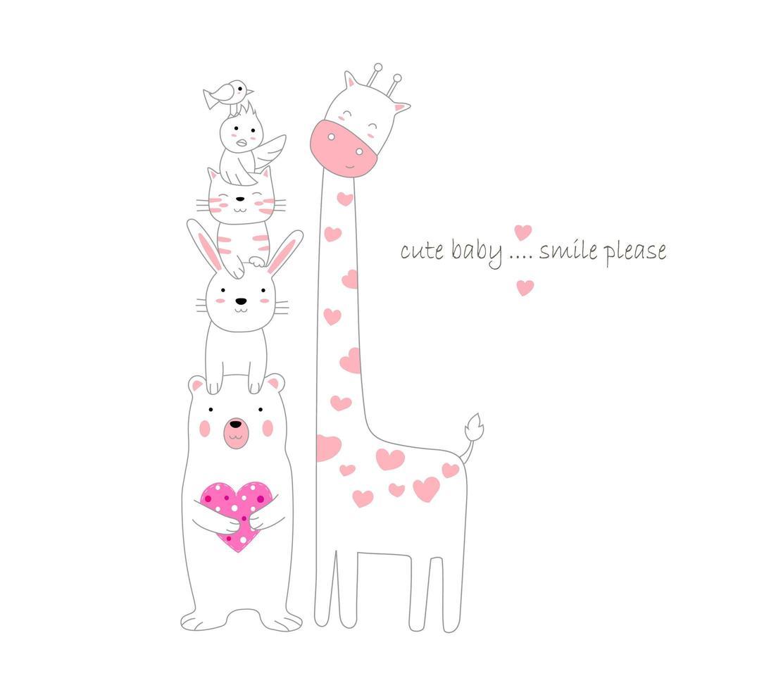 söta djur staplade bredvid giraff vektor