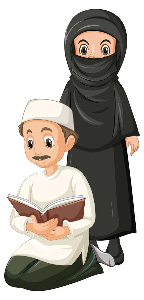 arabischer muslimischer Mann und Frau in traditioneller Kleidungsposition lokalisiert auf weißem Hintergrund vektor