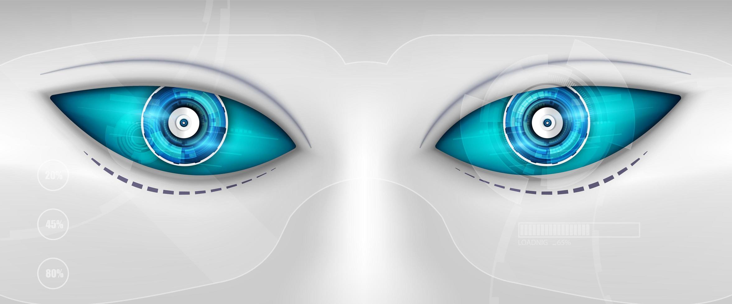 Auge des Roboters. futuristische Hud-Schnittstelle vektor