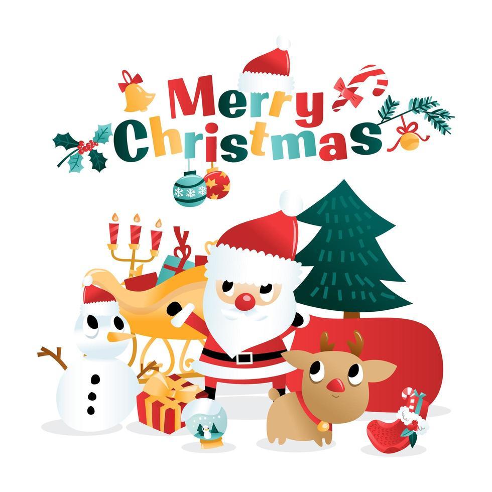 Spaß Cartoon Weihnachtsferien Szene vektor