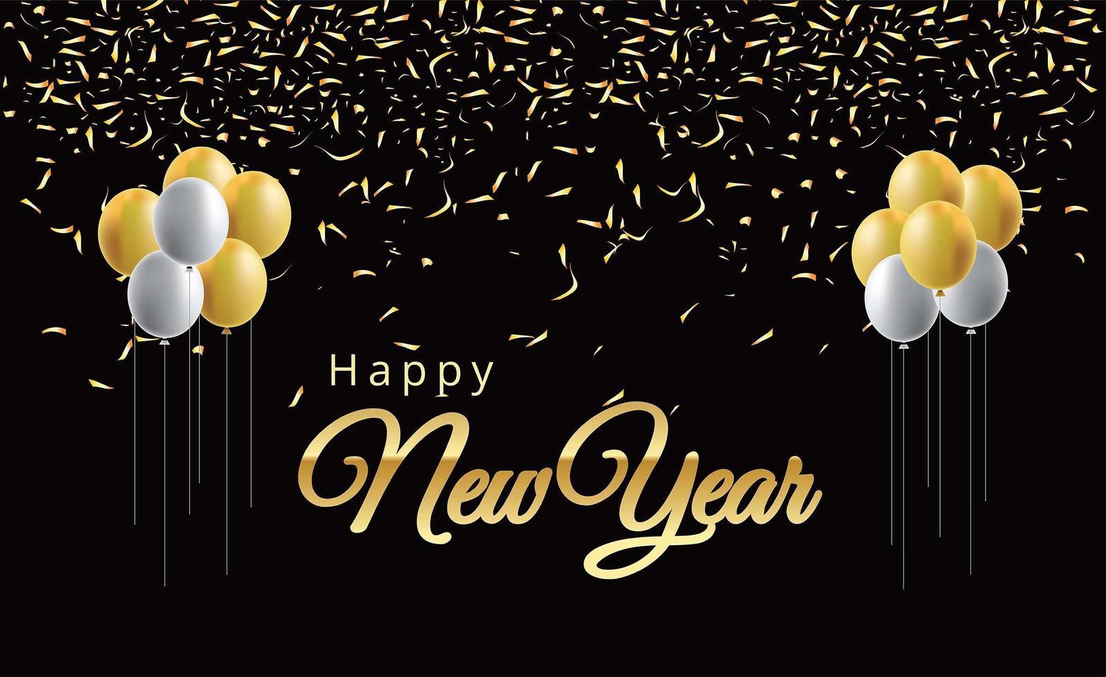 Frohes neues Jahr Luftballons und goldene Metallnummern vektor