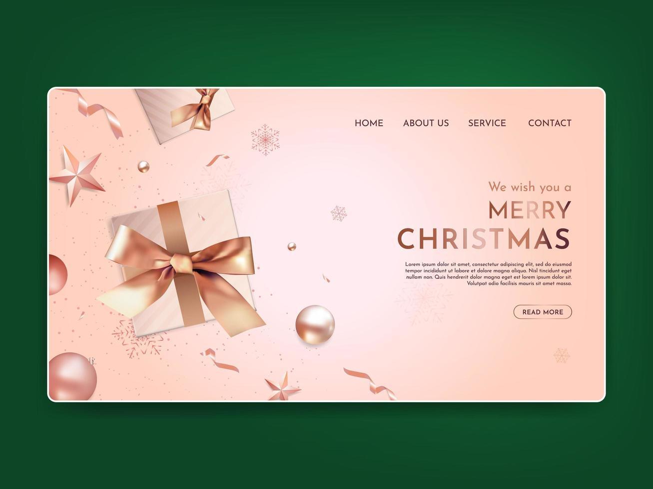 realistische Weihnachtslandingpage vektor