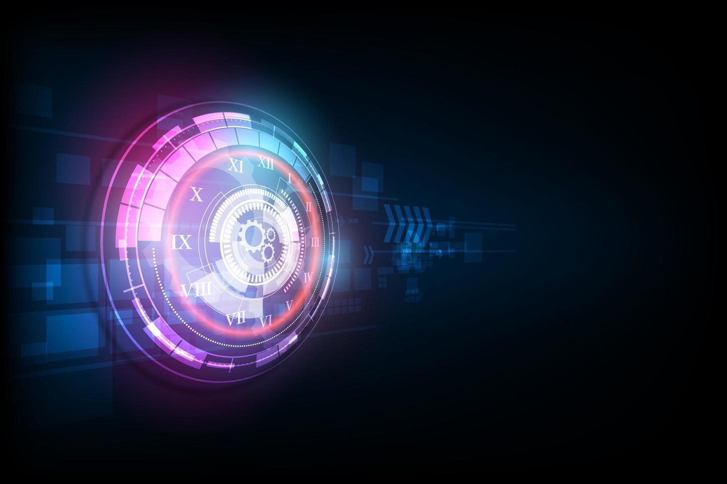 abstrakter futuristischer Technologiehintergrund mit Uhrenkonzept und Zeitmaschine, Vektor transparent