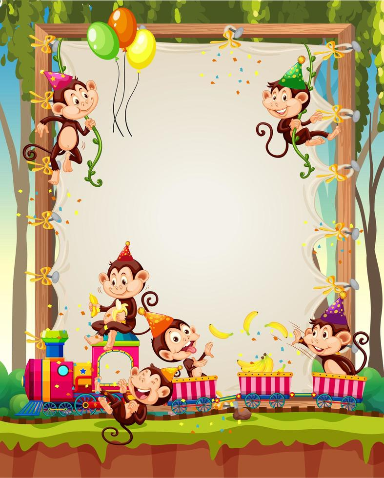 duk träram mall med apor i partytema på skog bakgrund vektor
