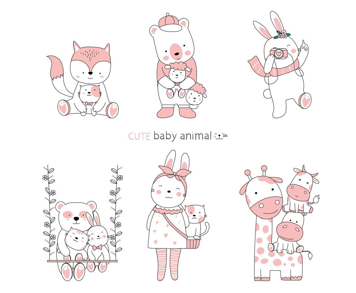 handritade söta baby djur vektor