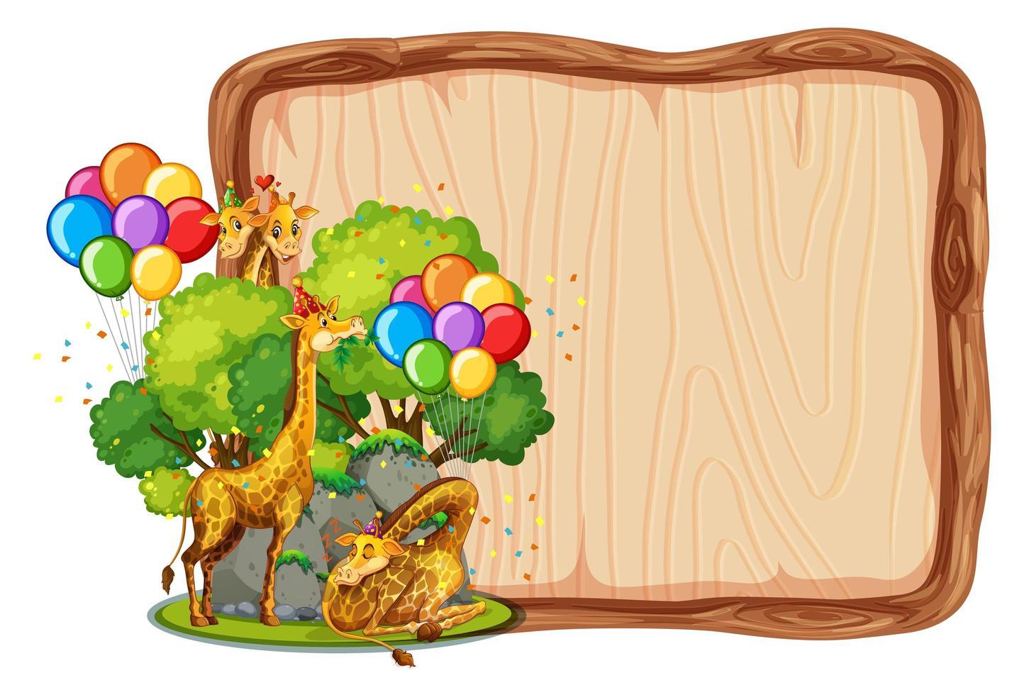 leere Holzbrettschablone mit Giraffen im Parteithema isoliert vektor