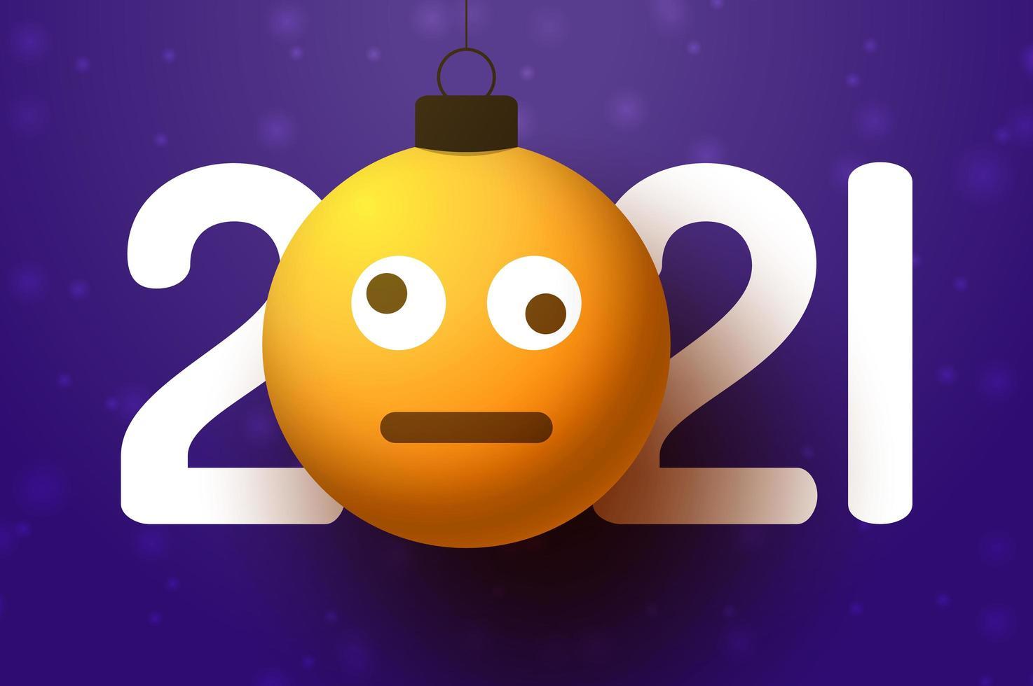 2021 nyårshälsning med förvirrad emoji-ansiktsprydnad vektor