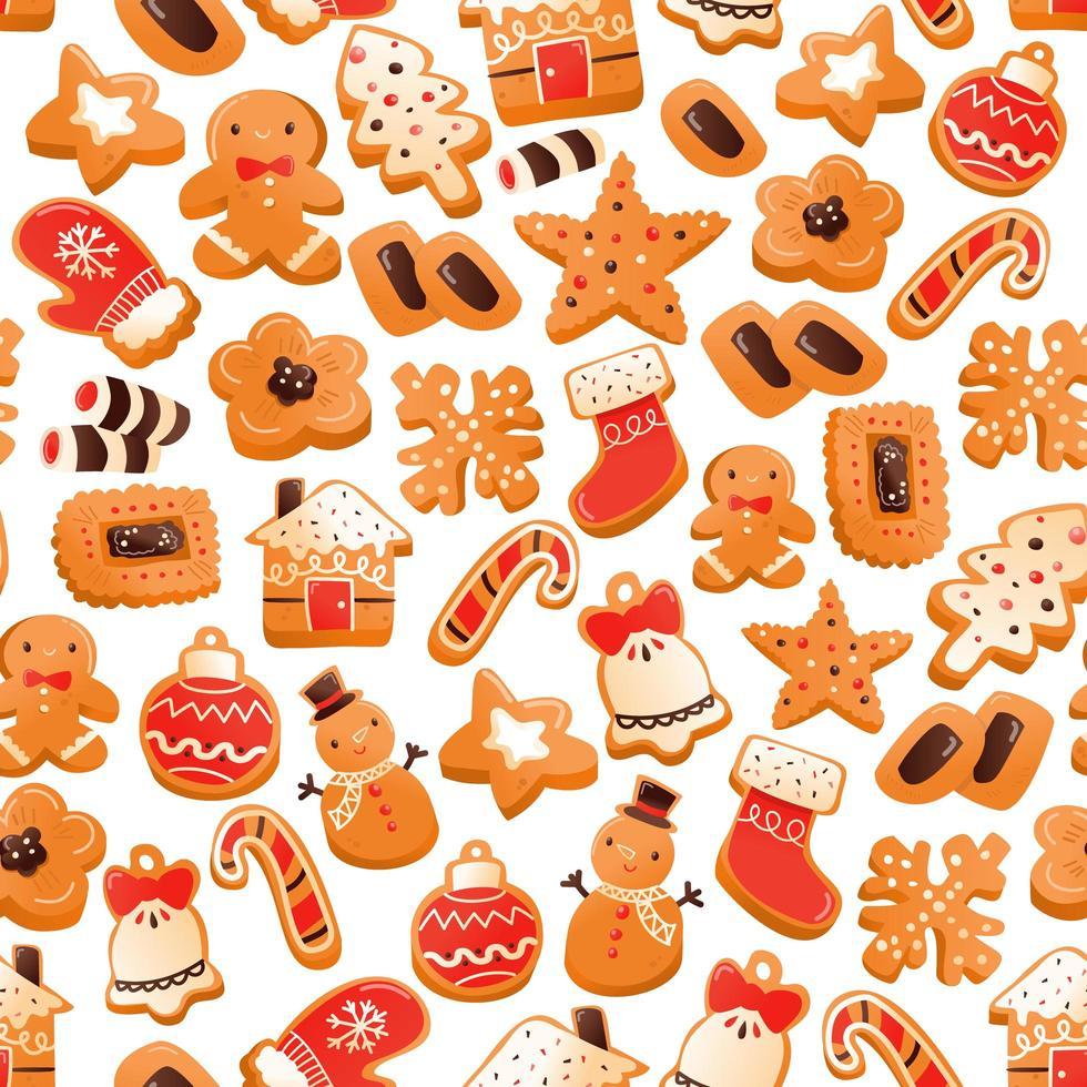 super süßes Lebkuchenweihnachtsplätzchen nahtloses Muster vektor