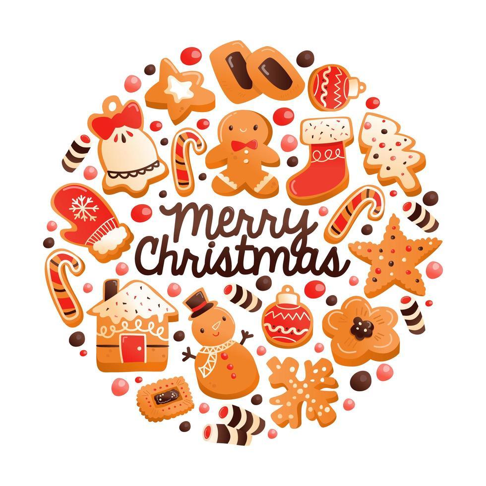 super süße Lebkuchen Weihnachtsplätzchen runde Dekoration vektor