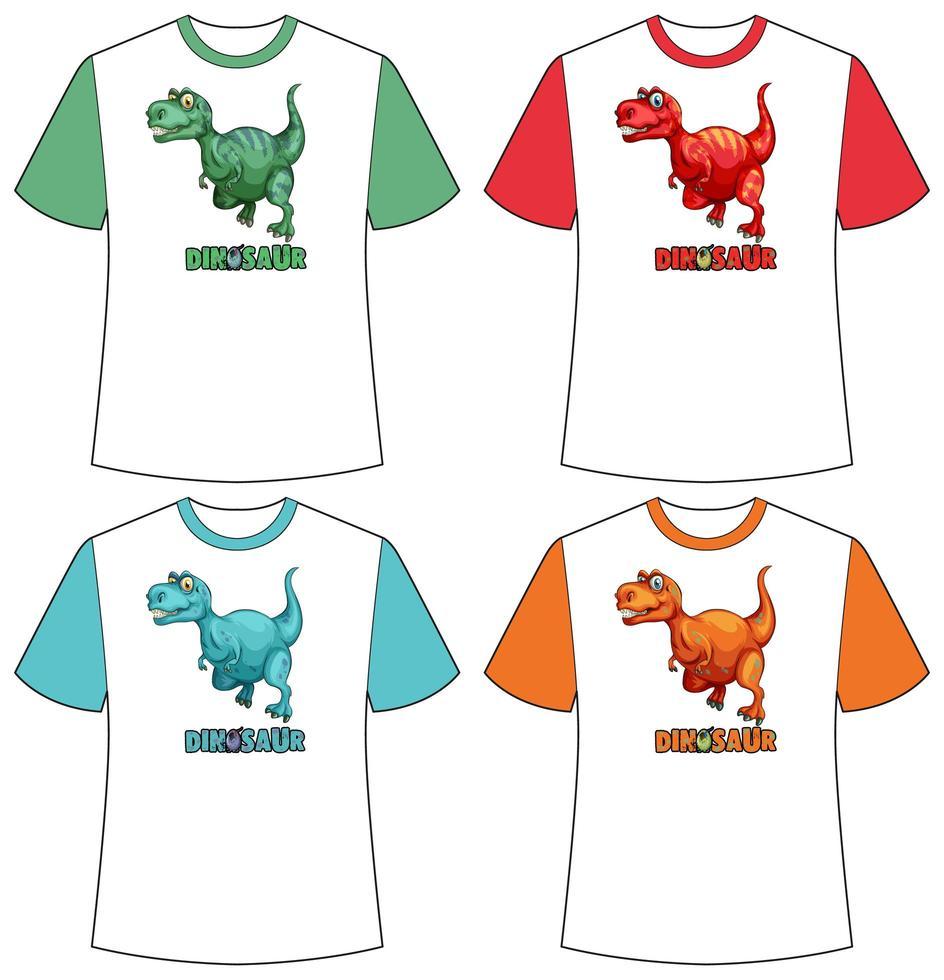 uppsättning olika färger dinosaurie skärm på t-shirts vektor