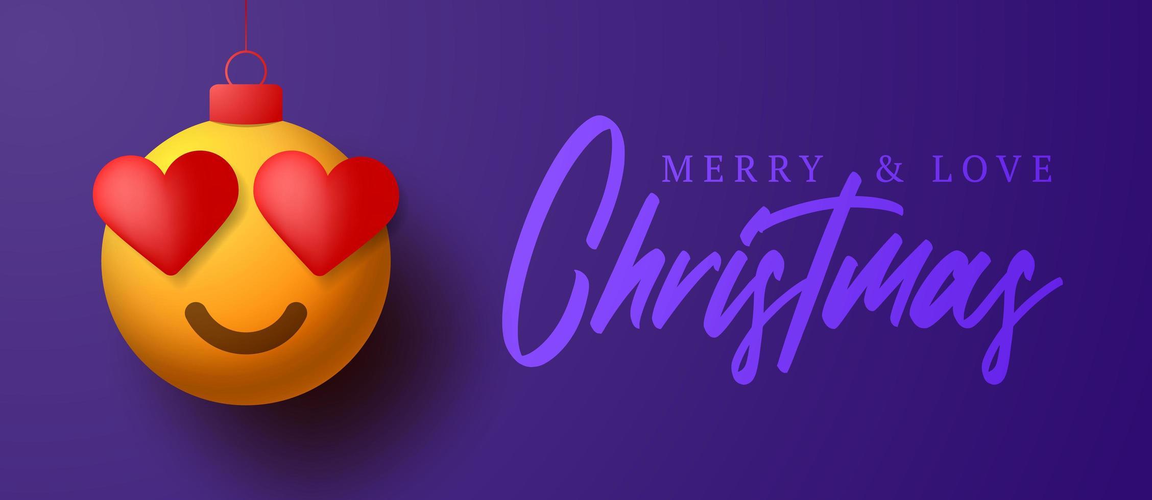 Frohe Weihnachtskarte mit Herz Auge Emoji Ornament vektor