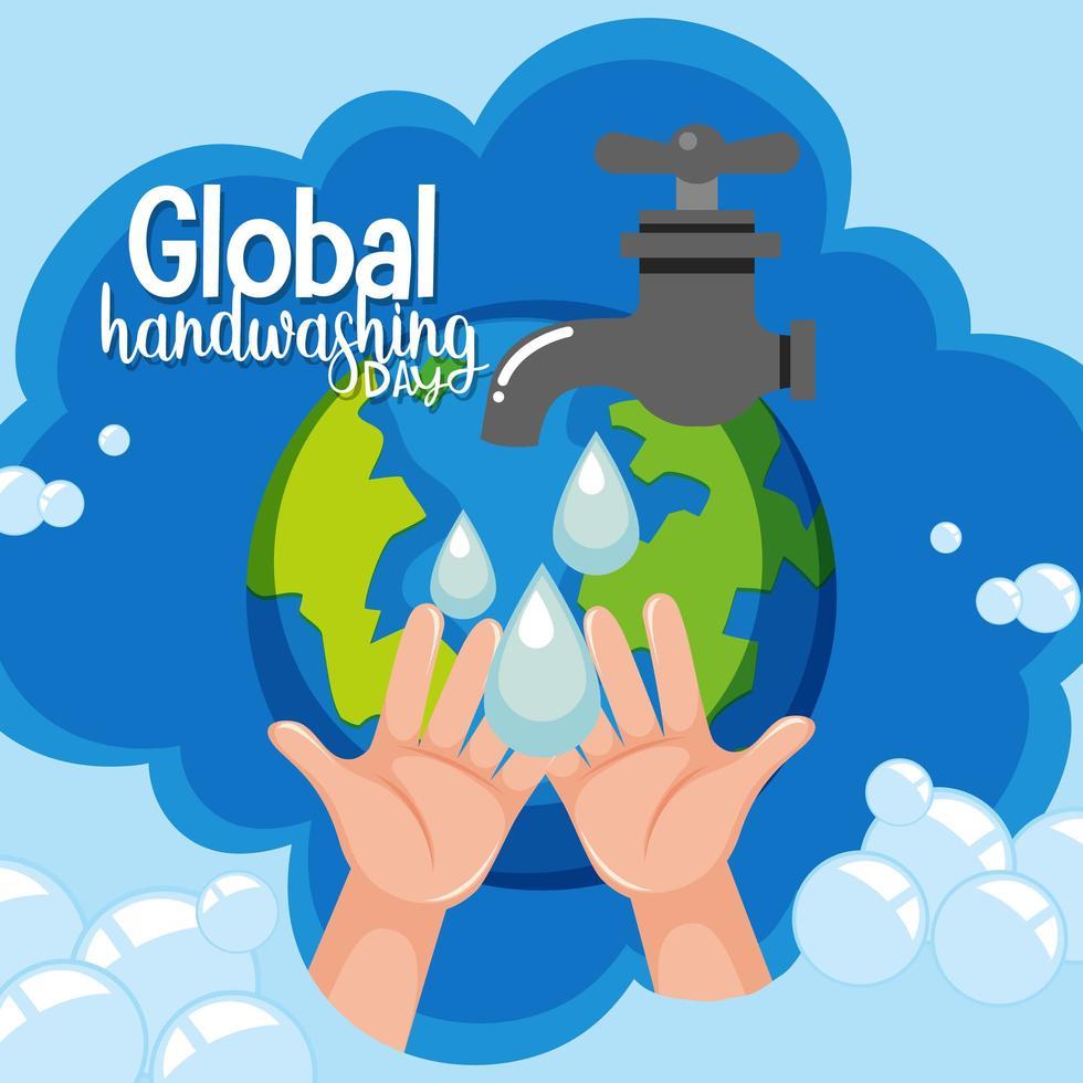 global handtvättdagslogotyp med vatten från kran och globebakgrund vektor