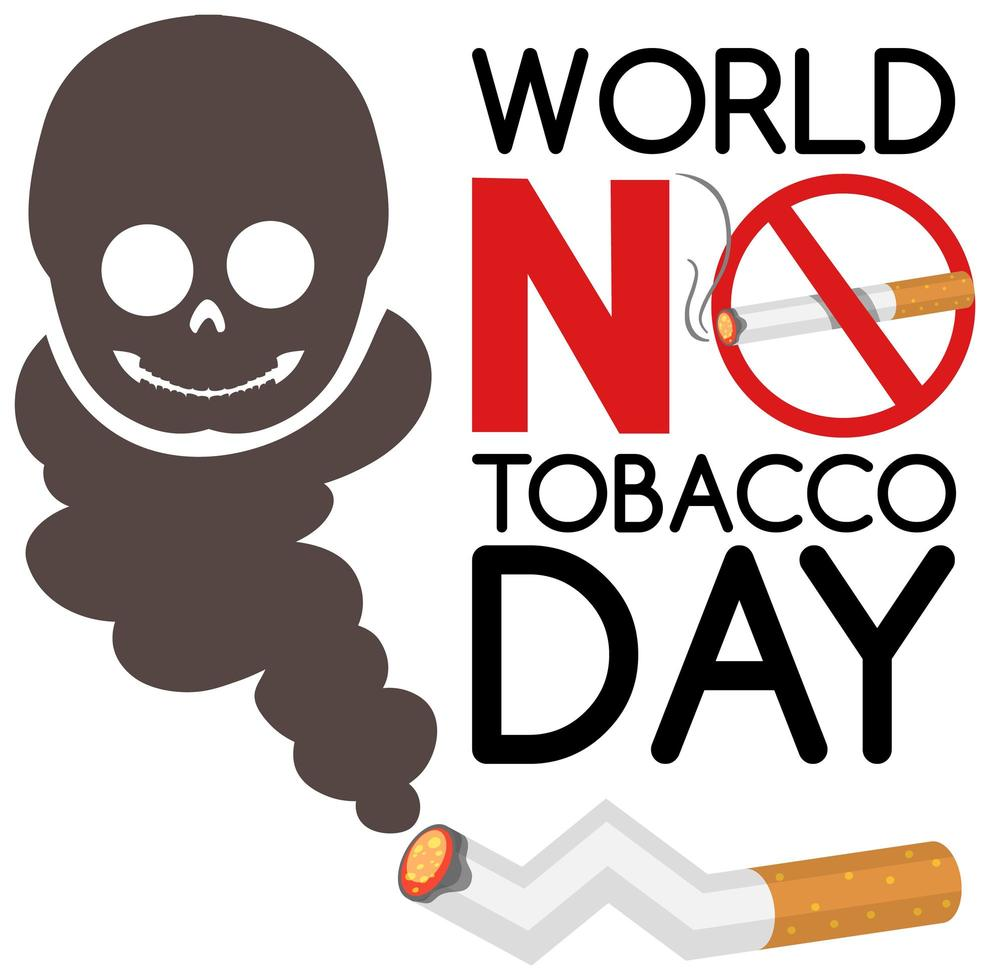 Welt kein Tabak Tag Logo mit verbotenen nicht rauchenden roten Zeichen und Schädel vektor