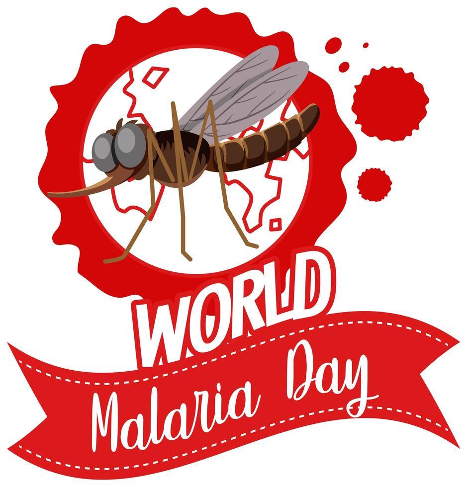 värld malariadag logotyp eller banner med mygga på jorden vektor