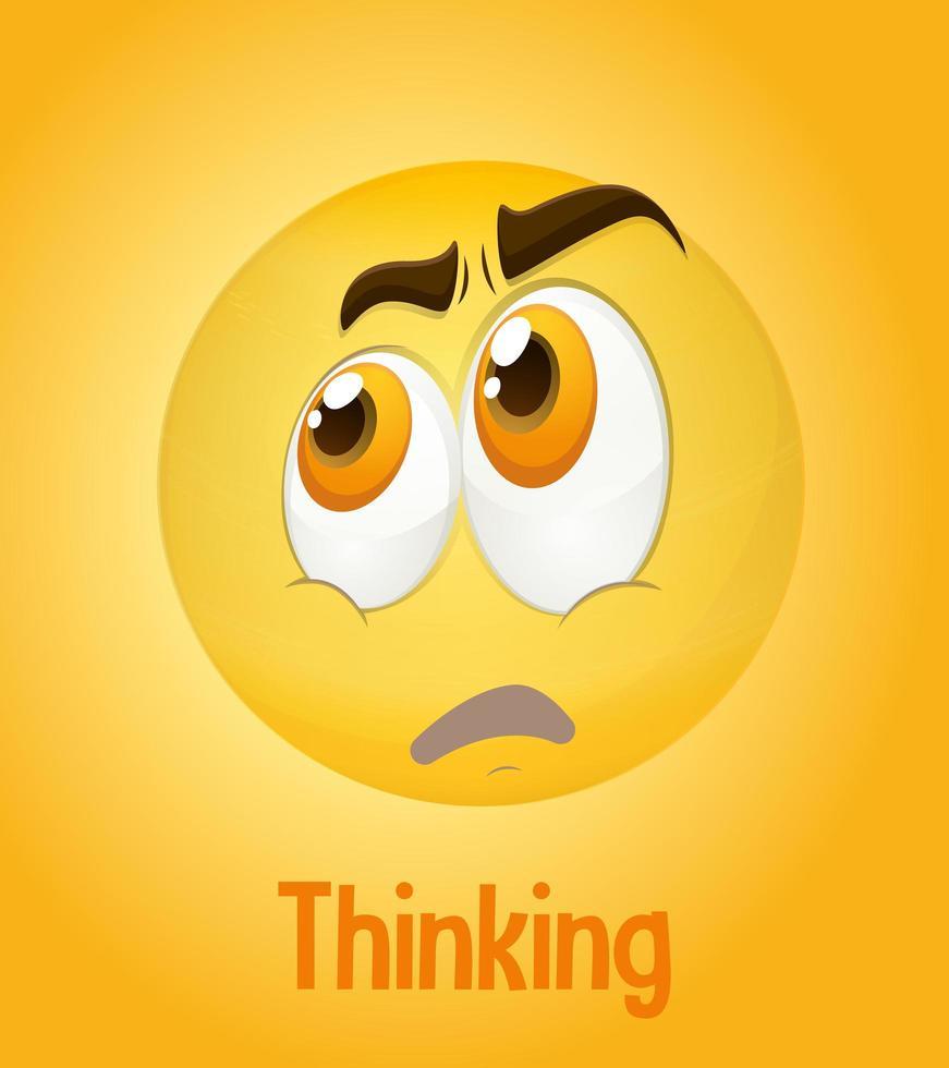 Denken Gesichter Emoji mit seiner Beschreibung auf gelbem Hintergrund vektor