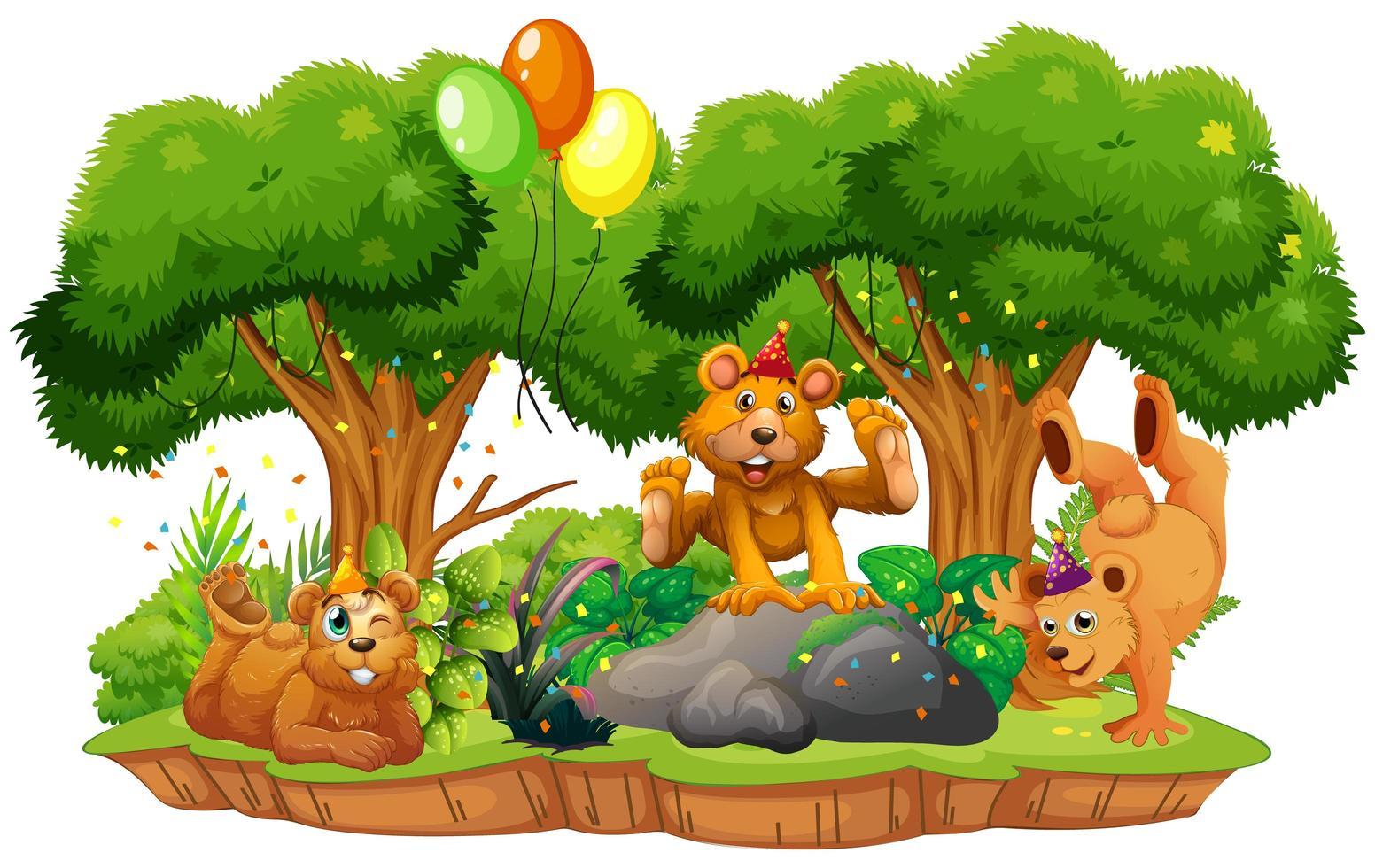 viele Bären im Parteithema im Naturwaldhintergrund isoliert vektor