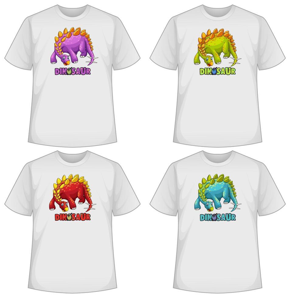 Satz von verschiedenen Farben Dinosaurier Bildschirm auf T-Shirts vektor
