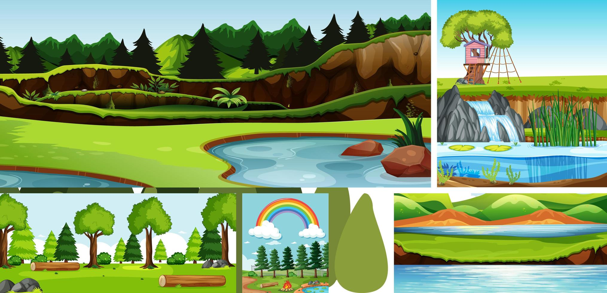 sechs Naturszenen mit unterschiedlichen Orten vektor