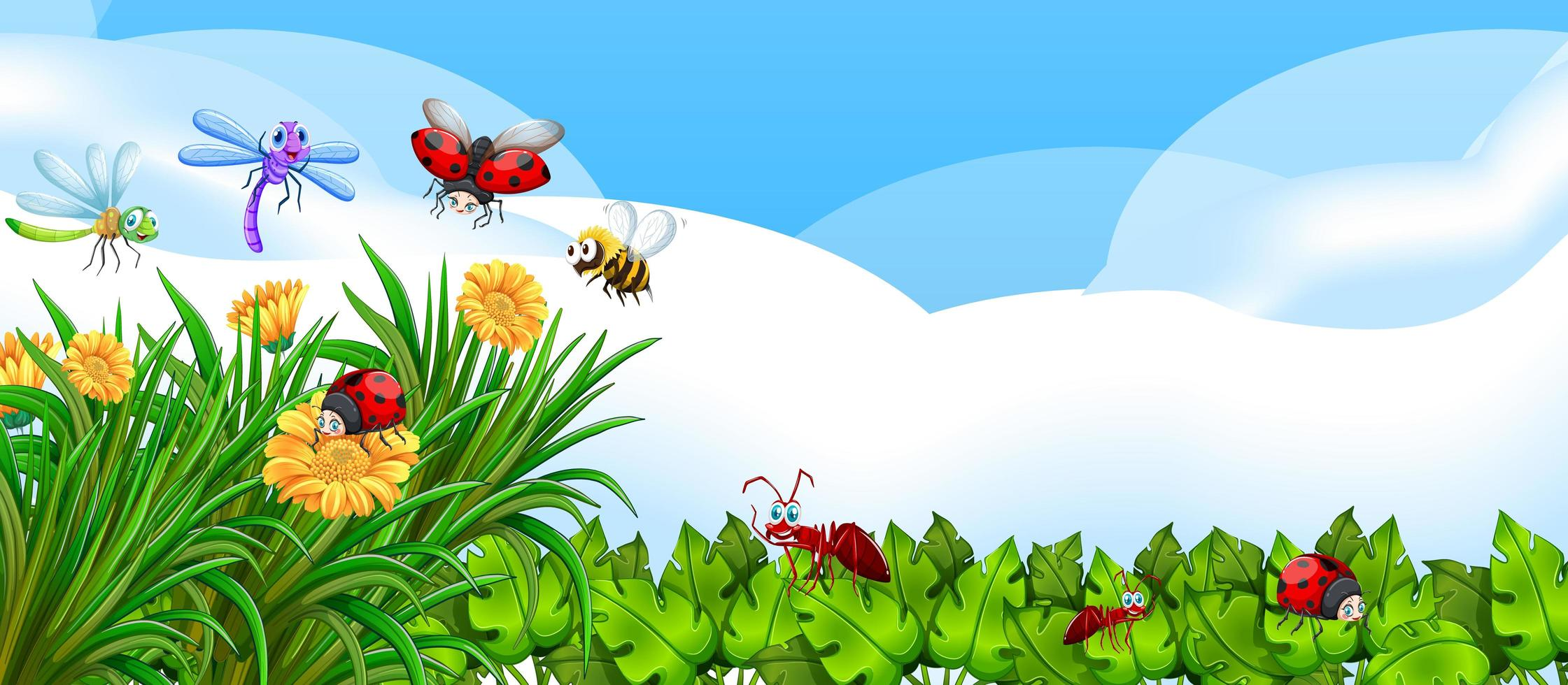 leerer Naturhintergrund mit vielen verschiedenen Insekten vektor