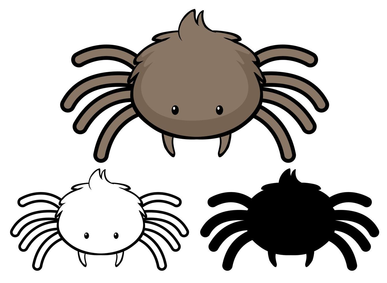 Satz Spinnenkarikatur vektor