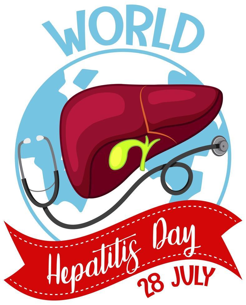 världens hepatitdagslogotyp eller banderoll med lever och stetoskop på jorden vektor