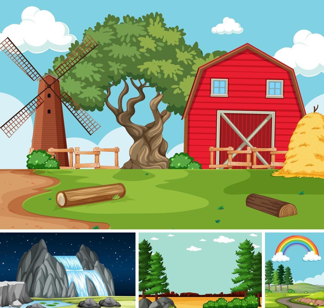 fyra olika scener i natur inställning tecknad stil vektor