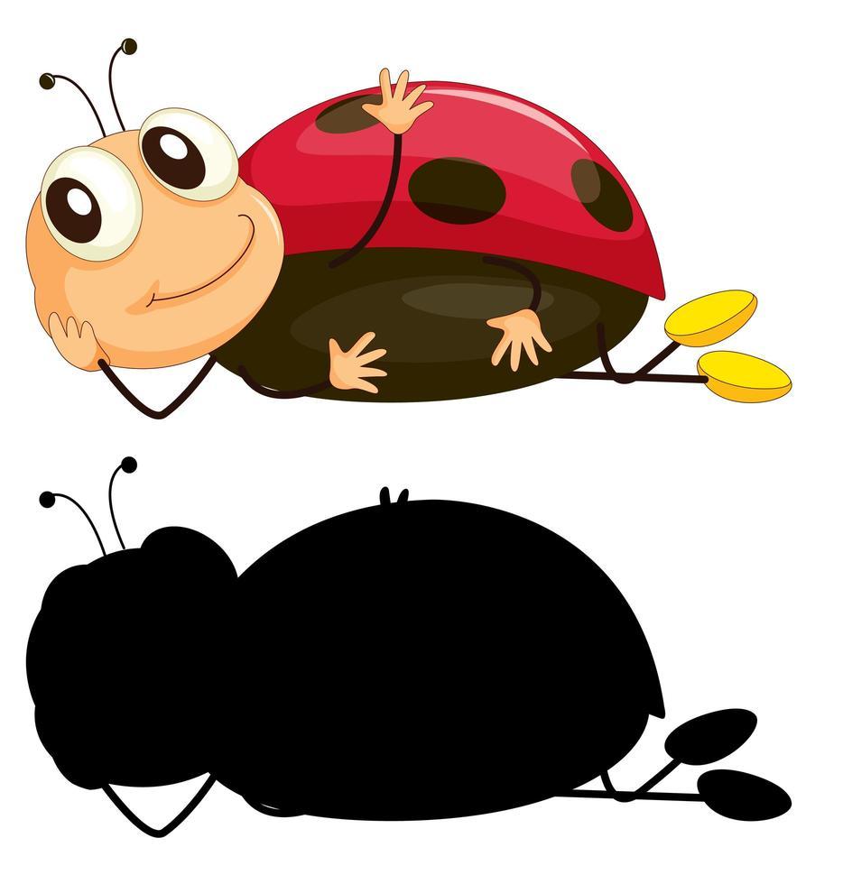 uppsättning av insekt seriefigur och dess silhuett på vit bakgrund vektor