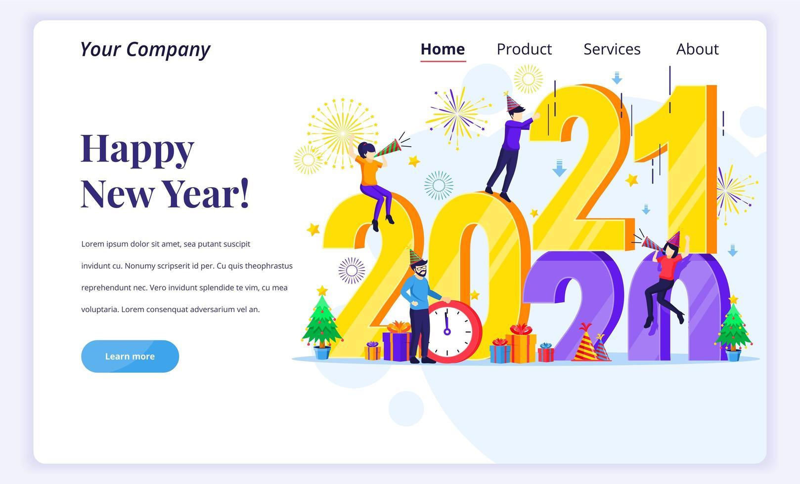 Menschen feiern ein frohes neues Jahr 2021 vektor
