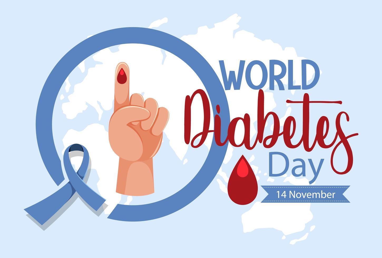 Världsdiabetesdag logotyp eller banner med blod droppe på fingret vektor
