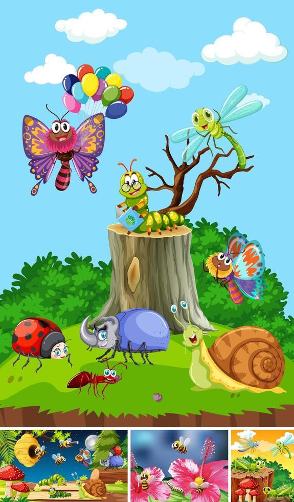 Satz von verschiedenen Insekten, die im Gartenhintergrund leben vektor