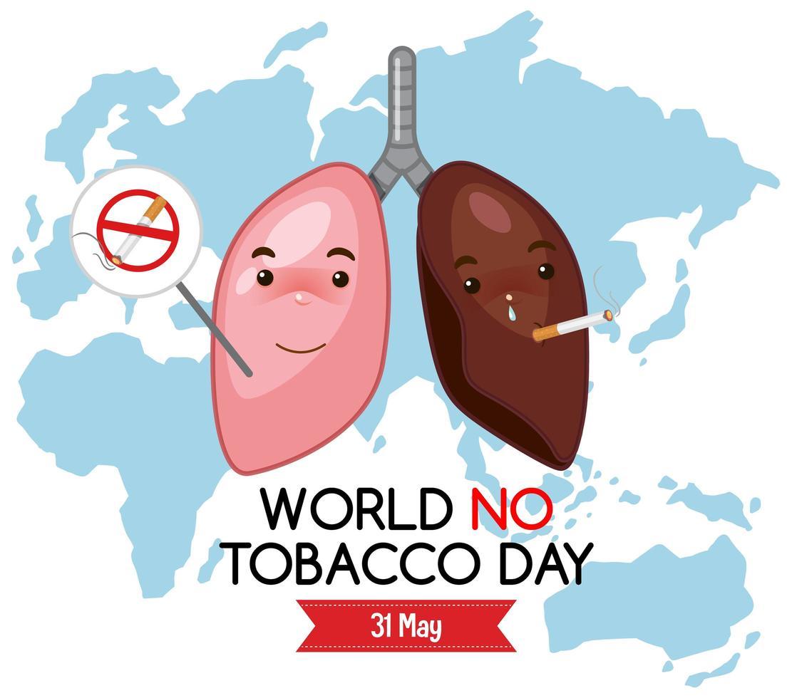 världen ingen tobak dag logotyp med olika lungor på världskartan bakgrund vektor