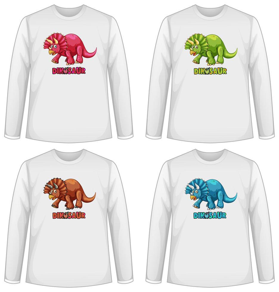 Set von verschiedenfarbigen Dinosaurier-Bildschirm auf Langarm-T-Shirt vektor