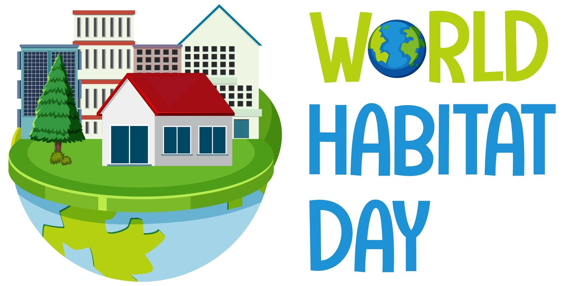 världens livsmiljö dag ikon logotyp med städer eller stad på världen vektor