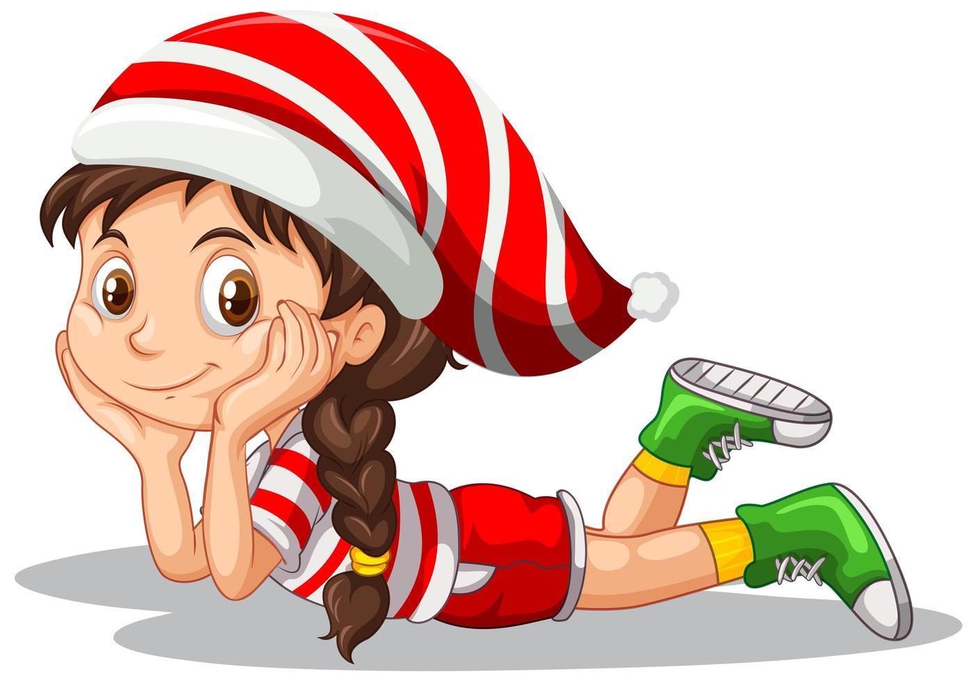 süßes Mädchen in der Weihnachtskostüm-Zeichentrickfigur vektor