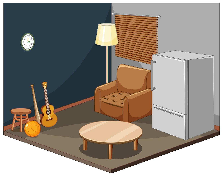 vardagsrumsinredning med möbler vektor