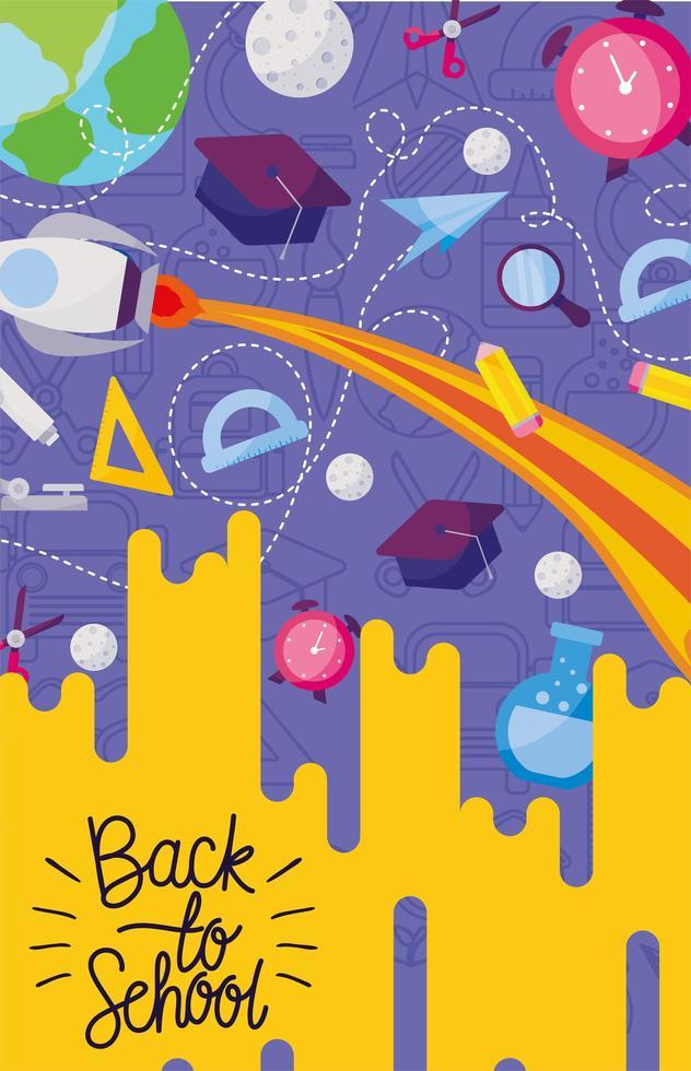 Rakete und Ikone zurück in die Schule vektor