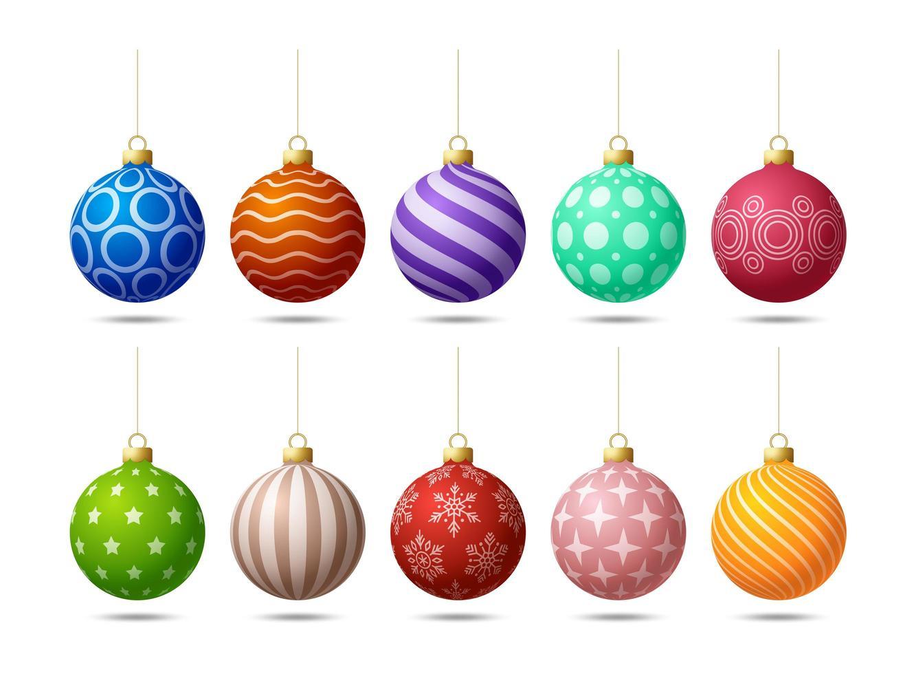 glänzende bunte weihnachtlich verzierte Baumkugelverzierungen vektor