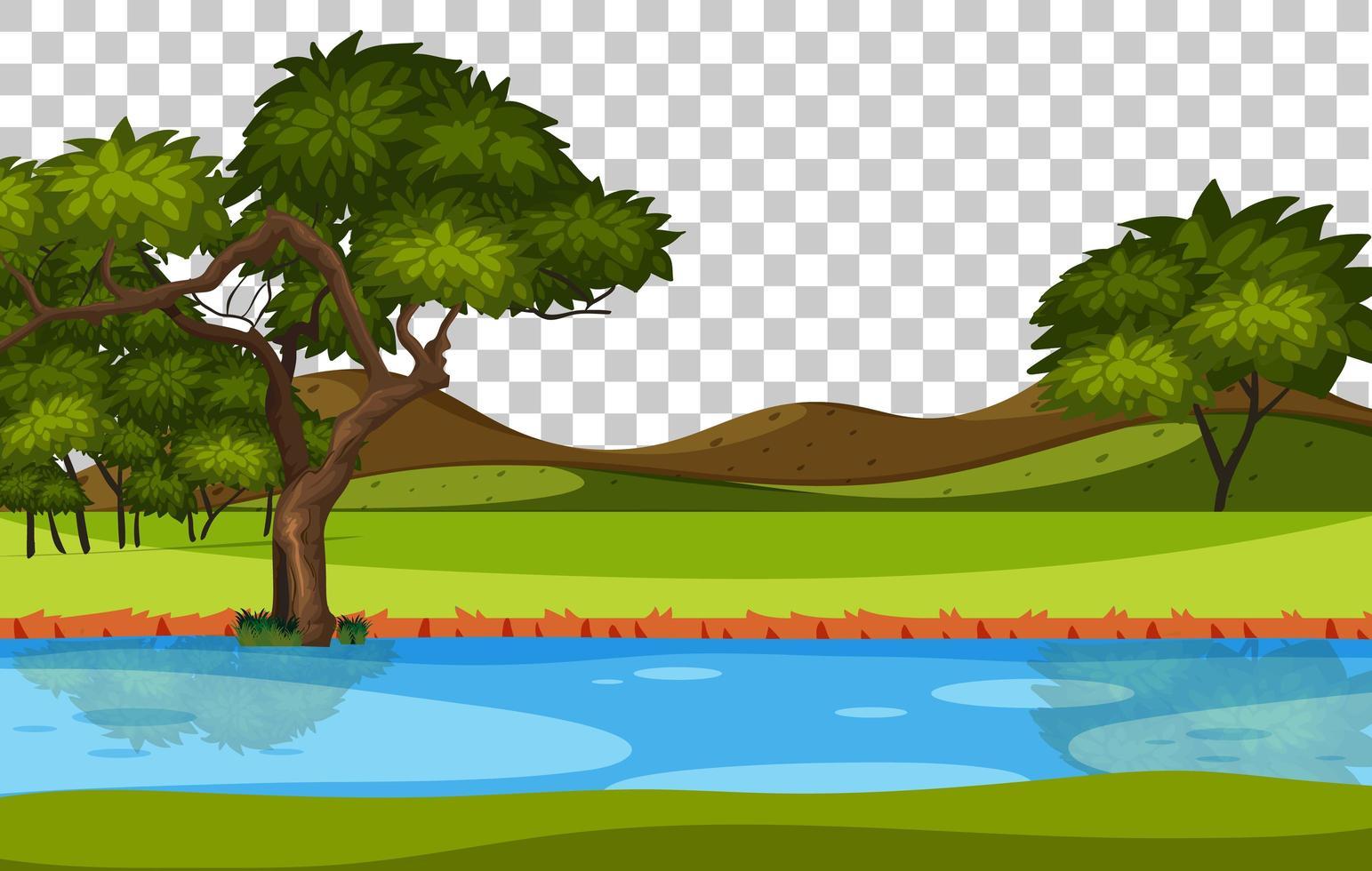 leerer Naturparkszenenlandschaftsfluss auf transparentem Hintergrund vektor