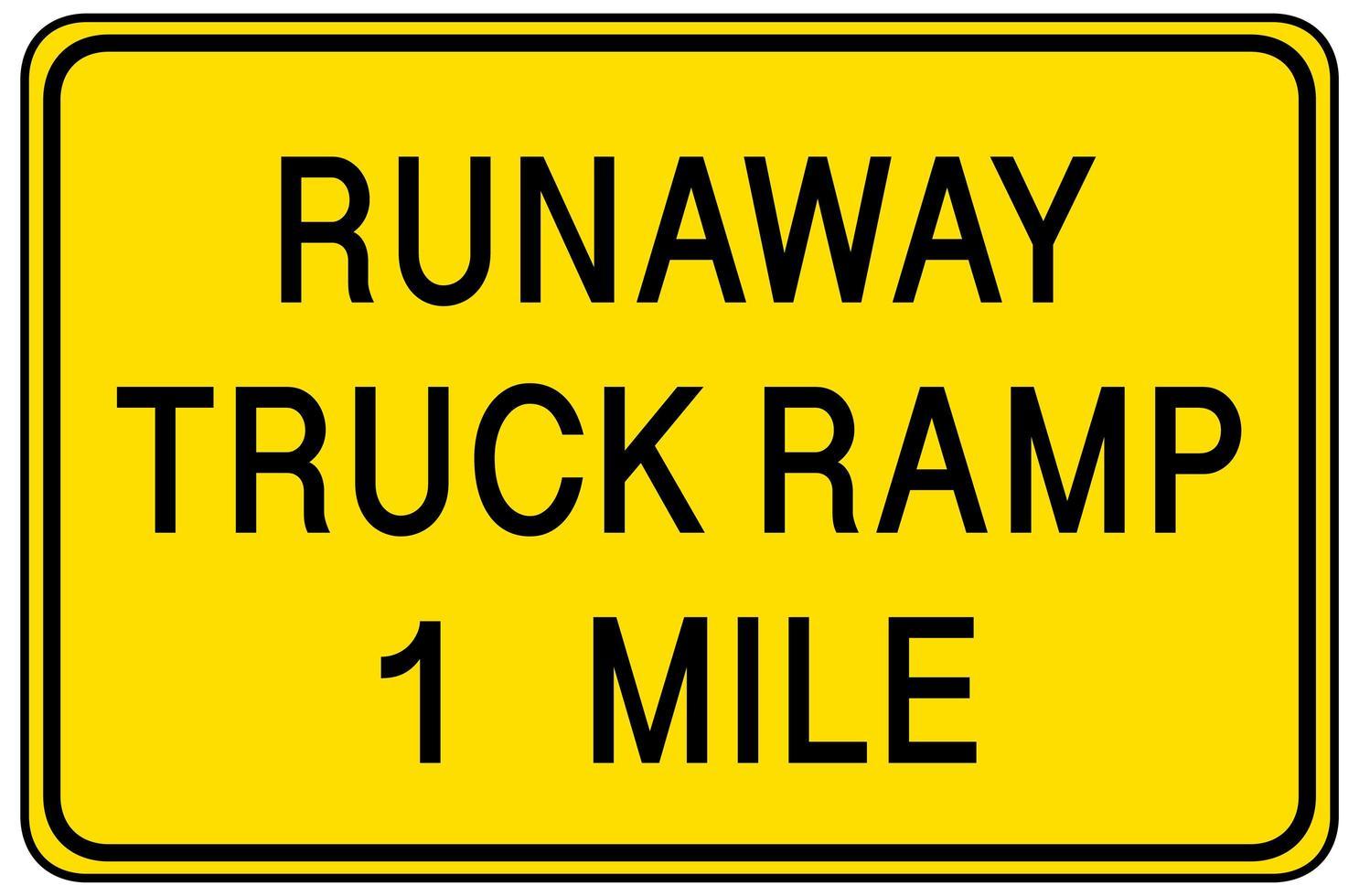 Runaway Truck Rampe 1 Meile Warnschild lokalisiert auf weißem Hintergrund vektor