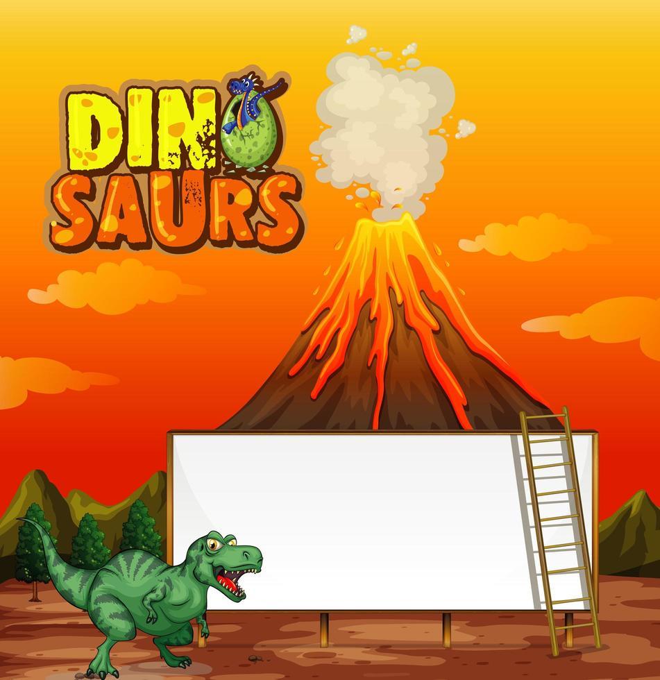 eine Dinosaurier-Banner-Vorlage in der Naturszene vektor
